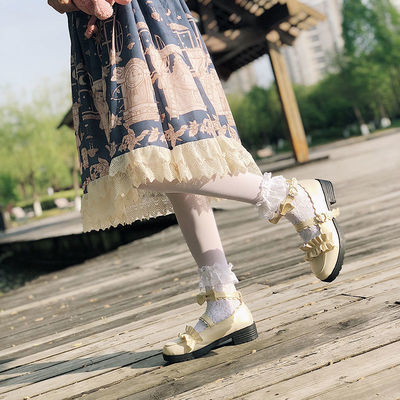 日系梅露露Lolita鞋低跟洛丽塔鞋子花边蝴蝶结圆头软妹学生制服鞋