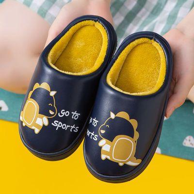 儿童棉拖鞋秋冬季卡通男童女童防水家居室内防滑保暖亲子PU皮拖鞋