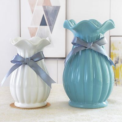 白色小清新陶瓷干花瓶餐桌装饰花盆摆件客厅透明玻璃花器插花摆设