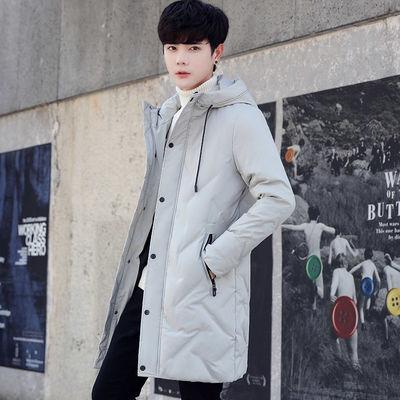 秋冬季新款男士羽绒服中长款休闲保暖外套学生韩版潮流连帽式冬装