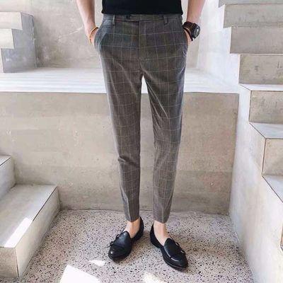 春夏男裤修身休闲裤子男九分裤西裤男西装裤格子裤韩版黑色小脚裤