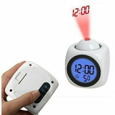 【送电池】创意多功能投影闹钟简约学生LED语音夜光报时钟温度钟