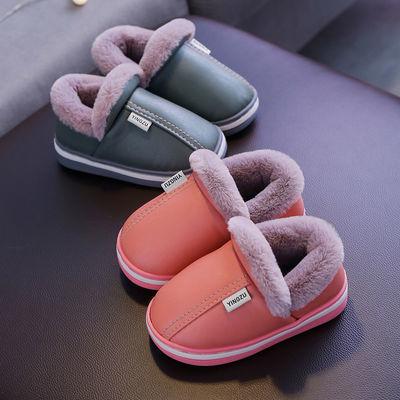 儿童棉拖鞋皮质PU防水防滑软底冬季保暖加厚男童女童居家亲子棉鞋