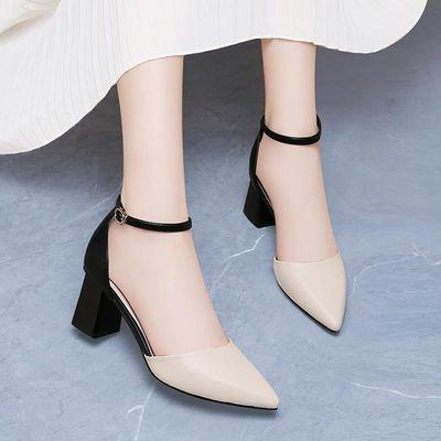一字扣单鞋女粗跟白色夏季穿旗袍的中跟浅口中跟尖头高跟皮鞋5cm
