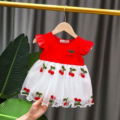 女宝宝裙子夏洋气2020新款公主时髦短袖网纱假两件纯棉婴儿公主裙