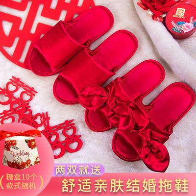 结婚红色拖鞋夏季蝴蝶结新娘拖鞋女防滑居家伴娘团韩版绸缎晨袍男