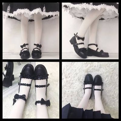 日系梅露露lolita鞋低跟洛丽塔鞋子圆头花边软妹学生jk制服小皮鞋