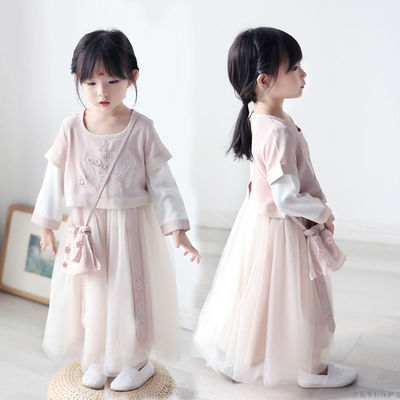 儿童汉服女童古装超仙连衣裙子襦裙仙女飘逸12岁女孩古装宝宝秋装