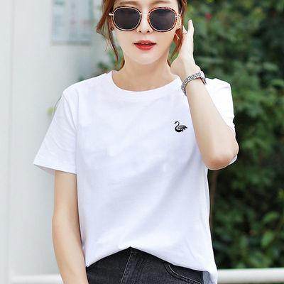 高品质纯棉白色t恤女新款黑色短袖女宽松简约休闲百搭上衣女夏装