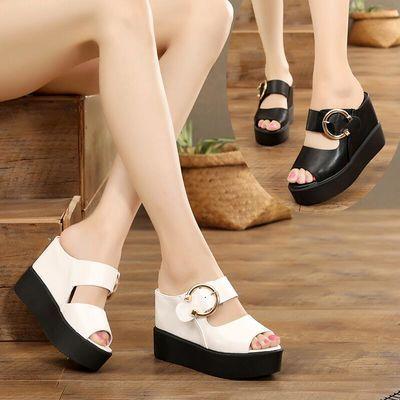 凉拖鞋女夏厚底坡跟一字拖鞋鱼嘴凉鞋11cm内增高女鞋防水台松糕底