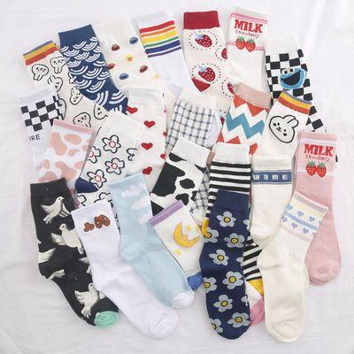 袜子女中筒袜韩版长筒甜美可爱百搭ins潮秋冬长袜潮流日系堆堆袜