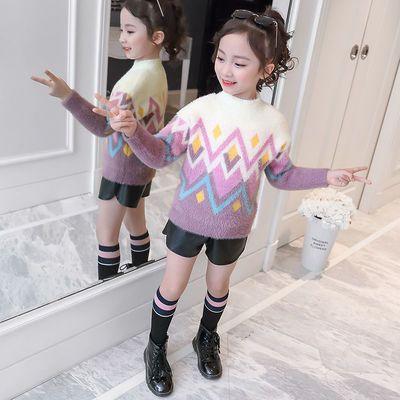 女童毛衣套头2020春秋新款中大男女童洋气韩版学生长袖套头上衣