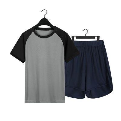 32713/2020夏季新款瑜伽健身拼接运动女装修身显瘦短袖短裤休闲两件套
