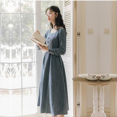 遮胯显瘦桔梗长裙秋装2020年新款女洋气蓝色连衣裙灯芯绒显高气质