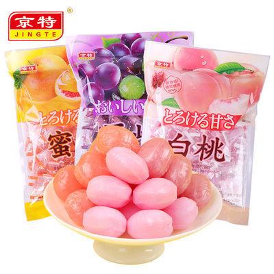 京特白桃果汁水果硬糖500g零食糖果女生日礼物喜糖批发500g--100g