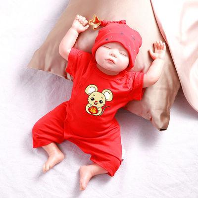 婴儿短袖连0-1周百天新年宝宝衣服满月礼服新生儿纯棉连体衣