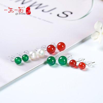 【一生一石】天然珍珠玛瑙纯银耳钉女日韩系简约ins风气质耳钉女