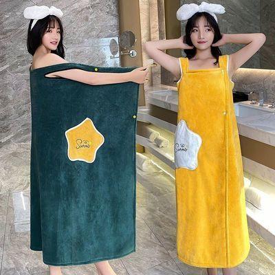 71842/加厚浴袍女比棉吸水珊瑚绒速干百变浴巾可穿可裹浴裙秋冬大码睡袍