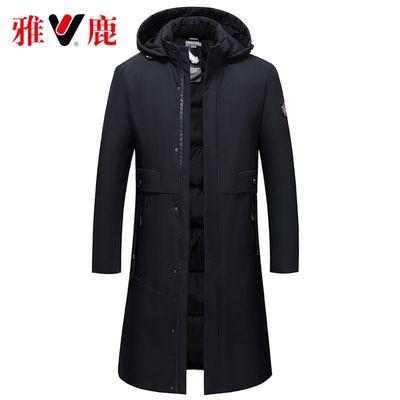 雅鹿正品男士中老年冬季棉衣中长款爸爸装加厚棉服过膝保暖风衣