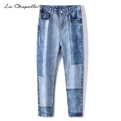 La Chapelle+秋季牛仔裤男长裤子学生潮流宽松直筒破洞工装休闲裤