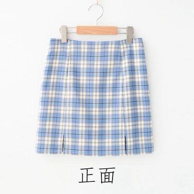 简设BM风格学院风防走光少女感半身裙 ins高腰包臀裙a字格子短裙