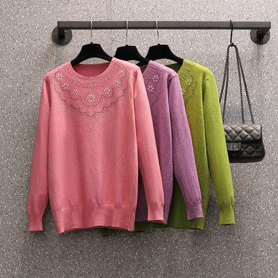 【不起球】秋冬女装毛线衣中年妈妈装套头圆领纯色薄款针织衫上衣
