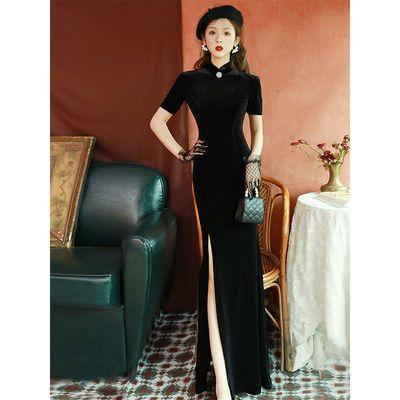 黑色丝绒鱼尾旗袍2020改良版性感长款显瘦形体晚礼服走秀连衣裙女