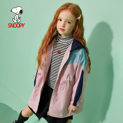 SNOOPY史努比女童连帽外套2020秋装新款童装外衣收腰设计休闲风衣