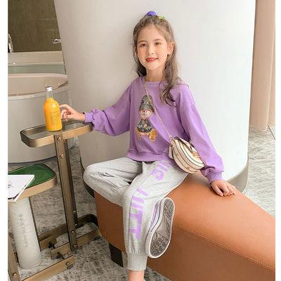 女童秋款套装2020新款时髦洋气上衣中大童女孩两件套运动卫衣童装