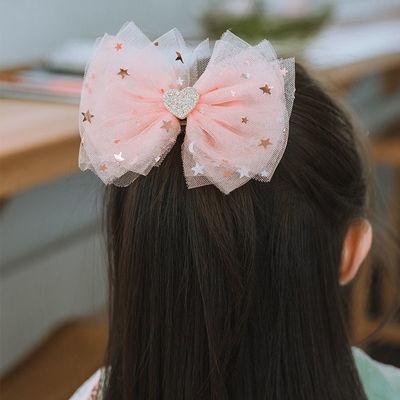 韩国进口儿童发饰公主甜美蝴蝶结发夹小女孩金粉色闪亮发卡超仙美
