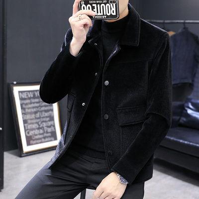 2020秋冬季短款风衣男韩版潮流帅气修身毛呢大衣休闲呢子夹克外套