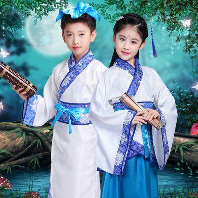 儿童男女汉服古装国学开笔礼服装三字经弟子规小书童朗诵表演出服