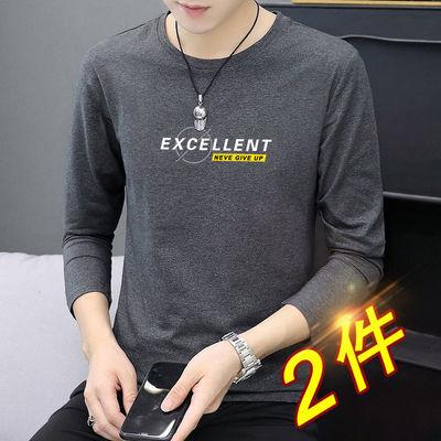 高品质秋季男士长袖T恤纯棉圆领印花韩版男装学生打底衫ins上衣服