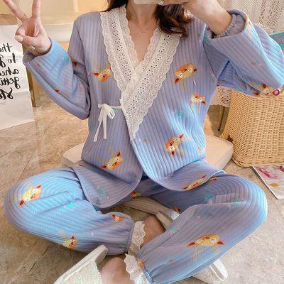 月子服春秋冬季产后加厚喂奶纯色空气棉孕妇睡衣产妇哺乳10月份11