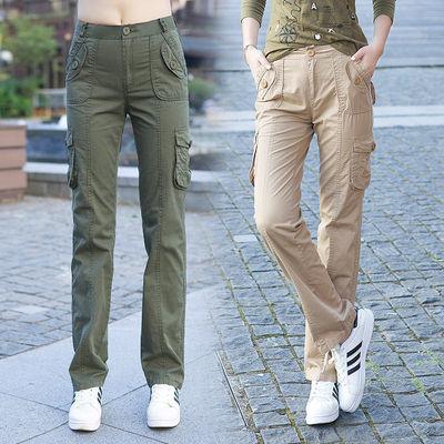 工装裤女新款春夏宽松直筒军绿色休闲显瘦高腰户外纯棉多口袋军裤
