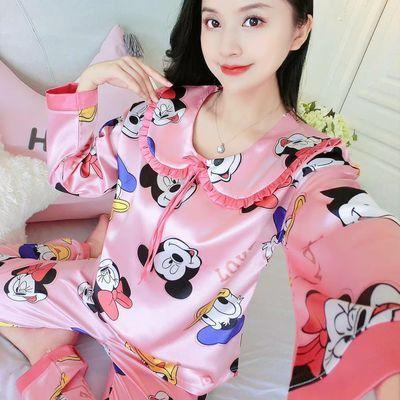 睡衣女春秋韩版女士长袖短袖仿真丝夏冬季性感夏冰丝套装家居服