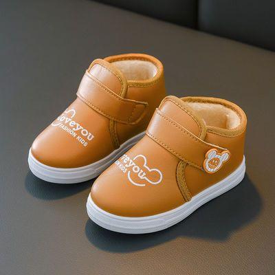 秋冬童鞋男童短靴儿童雪地靴 宝宝棉鞋时装靴 女童靴子皮棉靴防水