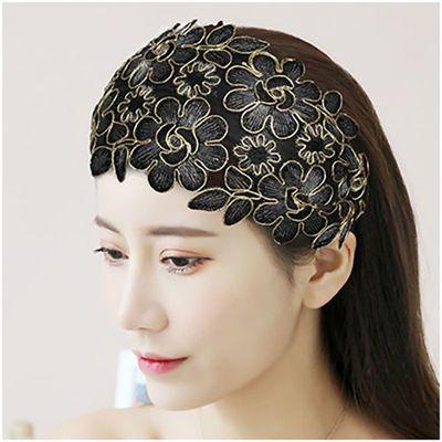 75606/名族风气质宽边花朵发箍遮白发刺绣带齿防滑压发碎发蕾丝发卡头饰