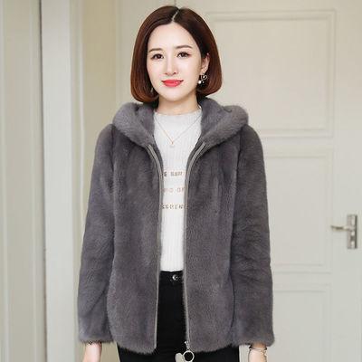 貂皮外套女冬短款2020海宁新款连帽整貂年轻款进口水貂仿皮草大衣