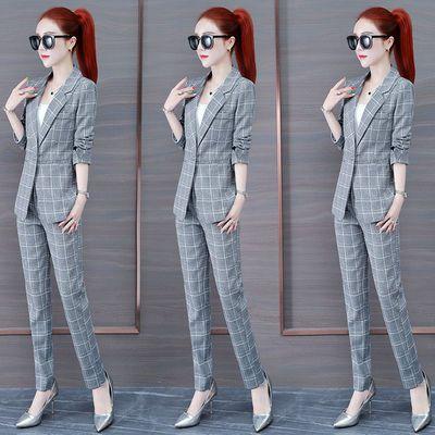 时尚格子西装套装女2020秋季新款韩版气质英伦风休闲职业装两件套