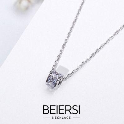 倍尔思 圆环钻S925纯银项链女网红锁骨链简约银项链生日礼物银饰