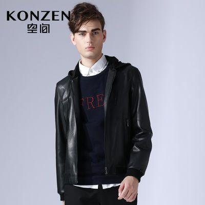 KONZEN空间机车皮衣男潮流修身帅气韩版冬季新款青年连帽夹克外套