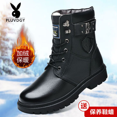 【头层牛皮】马丁靴男真皮韩版潮流内增高冬季加绒加厚高帮棉鞋