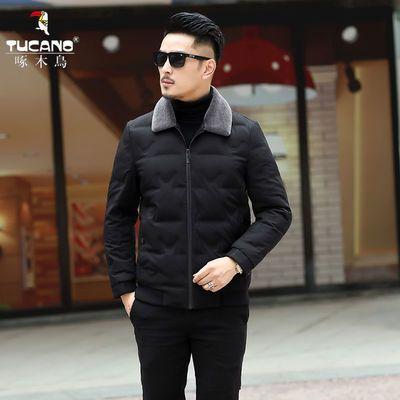 啄木鸟新款男士反季羽绒服短款中青年翻领休闲冬季外套男装