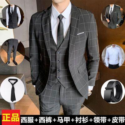 西服套装男士三件套韩版修身小西装职业正装伴郎服装新郎结婚礼服