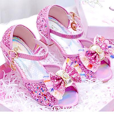 2020夏小女孩蓝色冰雪公主粉色蝴蝶结小美女高跟凉鞋小主持人童鞋