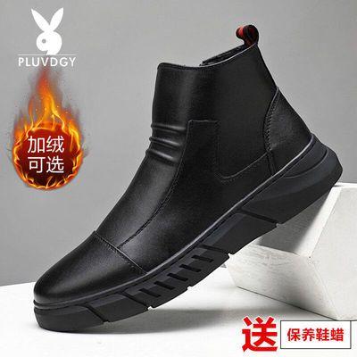 马丁靴男真皮韩版秋冬季男士时尚百搭内增高潮鞋加绒中高帮棉皮鞋