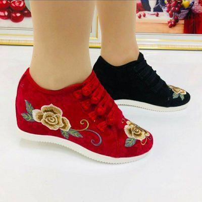 秋季新款绣花鞋内增高老北京布鞋女鞋子广场舞妈妈奶奶鞋软底防滑
