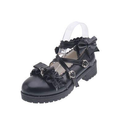 日系低跟梅露露lolita鞋子洛丽塔少女花边蝴蝶结软妹学生jk制服鞋