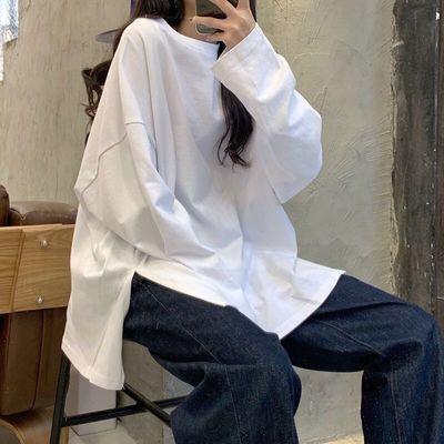 18012/长袖T恤女2020秋季新款韩版学生宽松原宿风上衣ins慵懒风打底衫潮